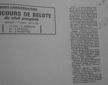 Mars 1990 : Premier concours de belote